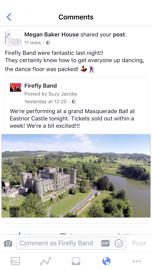 Firefly Band grand Masquerade Ball at Eastnor Castle testimonial