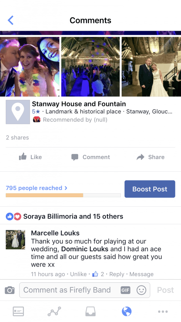 Firefly Band at Stanway House and Fountain wedding band testimonial