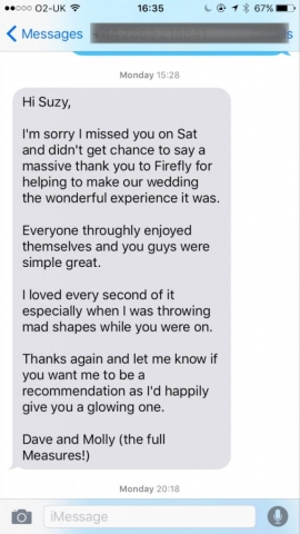 Testimonial for Firefly Band for hire for events and weddings in South West England