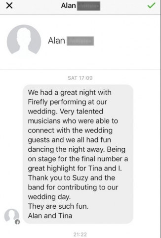 Testimonial for Firefly wedding band in Cheltenham