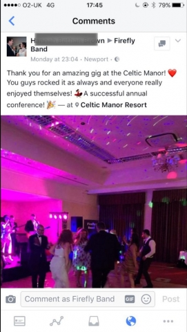 Firefly Band for hire at Celtic Manor Resort for annual conference