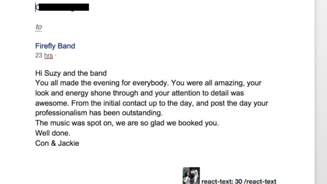 Firefly Band event testimonial