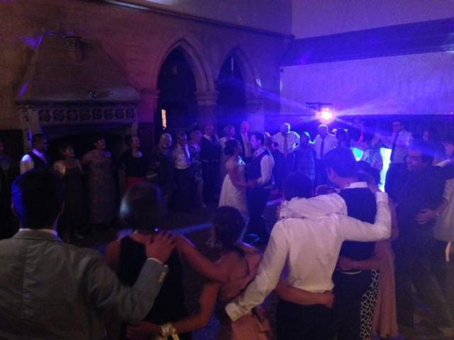 Wedding band bride and groom celebrating